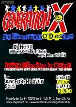 Offizieller Flyer Generation X Party, Berlin